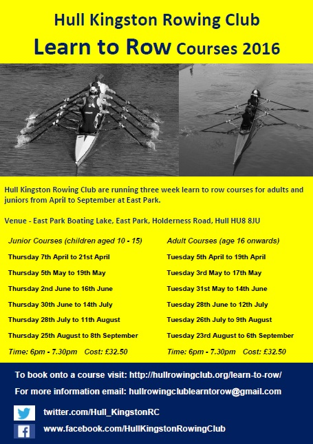 Hull Kingston Rowing Club Learn to Row Courses 2016